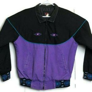 Vintage Kyta Make Purple Aztec Coat Jacket Biker